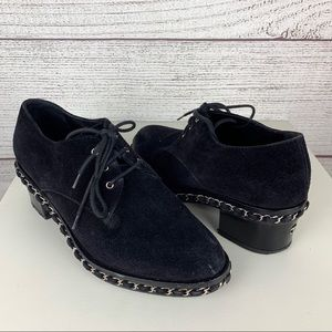 Chanel Suede Lace-Up Chain Oxfords